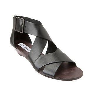 Steve Madden Black Karroll Demi Wedge Sandals